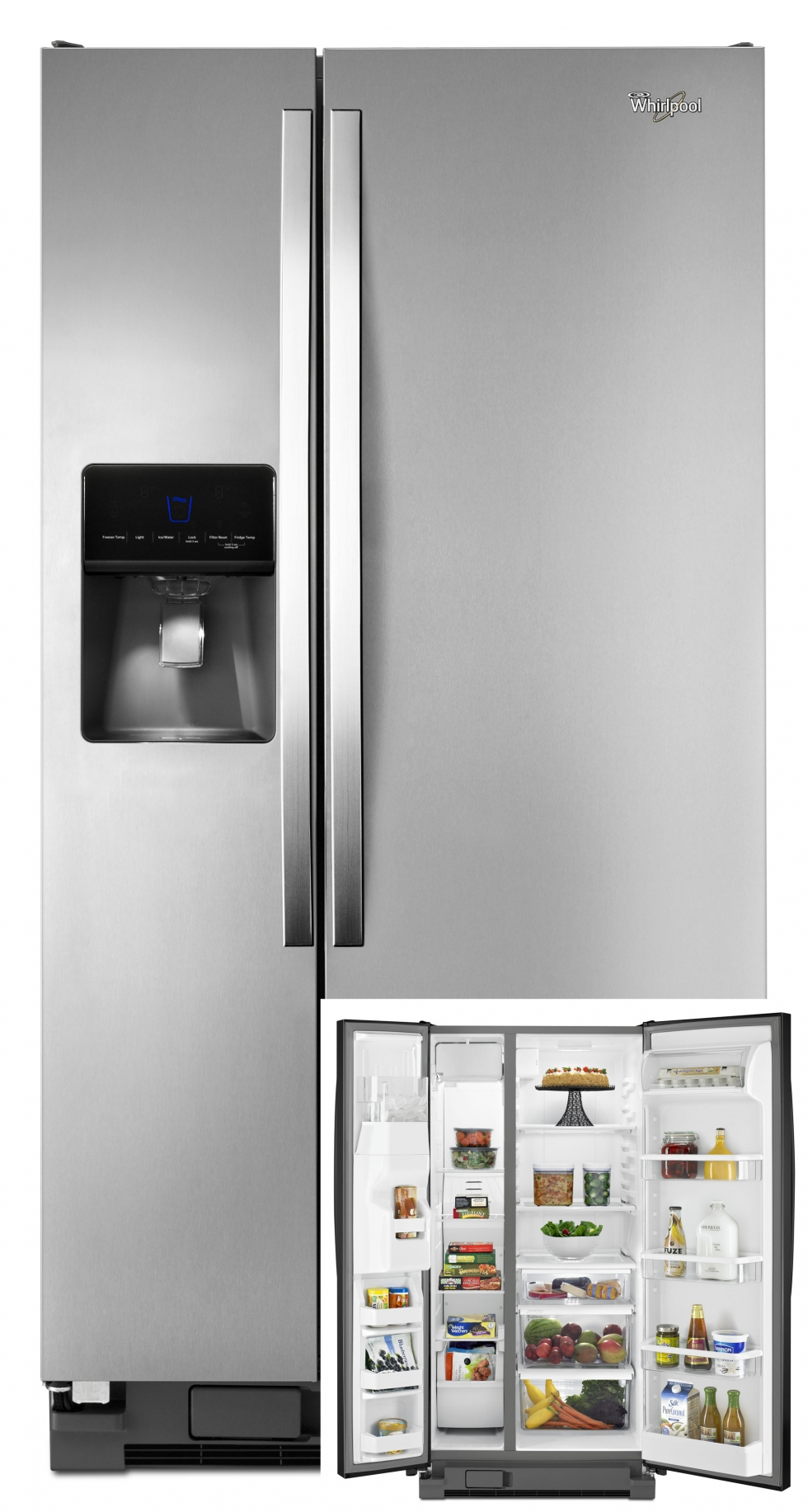 Whirlpool Side-by-Side Refrigerator Stainless Steel
