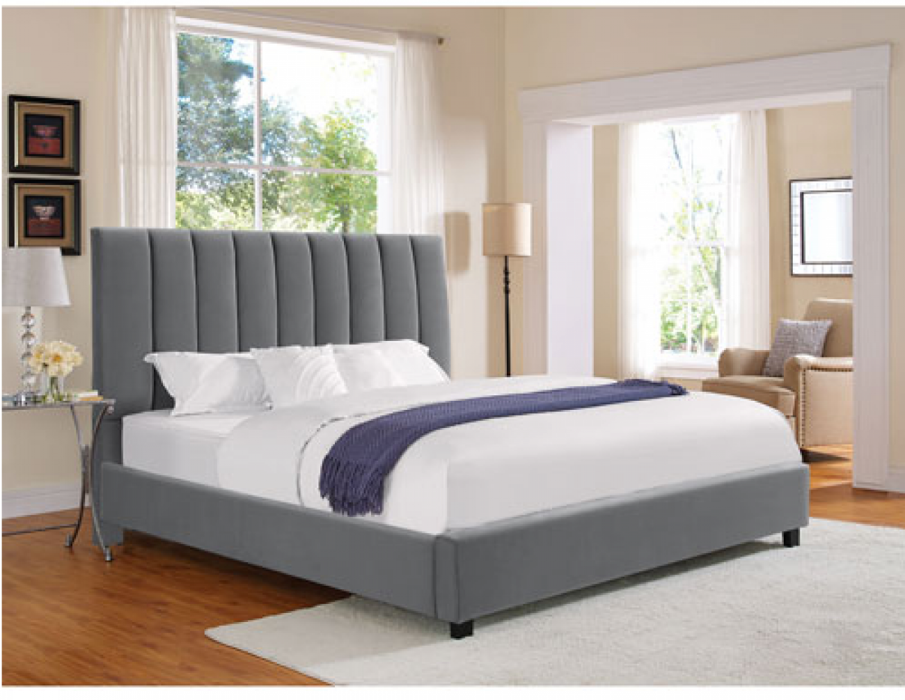 Serta Sarah Collection Transitional Upholstered Bed - Queen - Grey